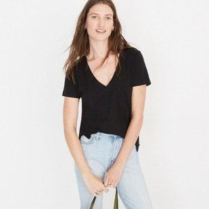 Madewell | Whisper Cotton Black V-Neck Tee
